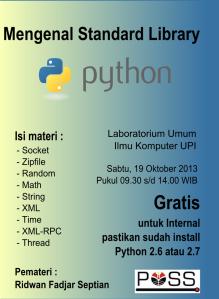 Poster yang dibuat untuk mengajak Internal POSS - UPI mengikuti pelatihan Python Standard Library