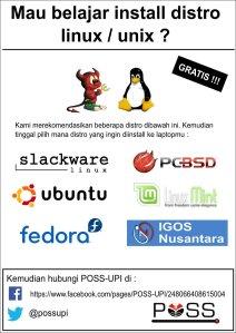 Sebuah poster yang dibuat untuk menawarkan instalasi linux dan unix gratis oleh POSS-UPI