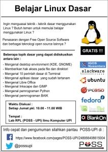 Sebuah poster yang dibuat untuk mengajak internal POSS - UPI dan  warga UPI umumnya untuk mengikuti diskusi tentang Linux, Unix, dan FOSS setiap jumat